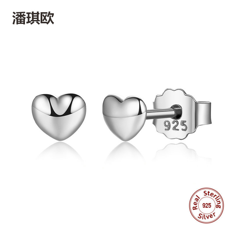 Authentic 925 Sterling Silver 1 pair Hearts Stud Earrings For Women Silver Earrings Compatible with pan jewelery Earring