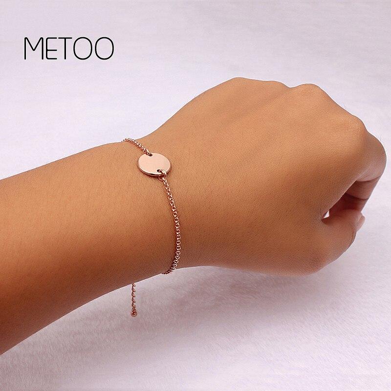 METOO 2019 Baby Custom Name Bracelets Bangles Dics Bracelet Coin Dainty Gifts BFF Engeaved Bracelet for Women Men Bijoux Femme in Chain Link Bracelets from Jewelry Accessories