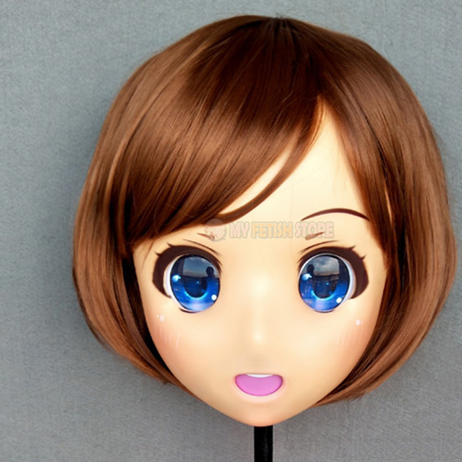 (Caomei-01)Female Sweet Girl Resin Half Head Kigurumi Crossdress Cosplay Japanese Anime Role Lolita Doll Mask  With Eyes And Wig