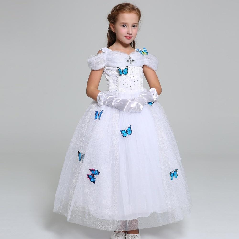 Summer Belle Elsa cosplay costume kids princess Rapunzel Jasmine dress baby girls long Ball gown Children party wedding dresses