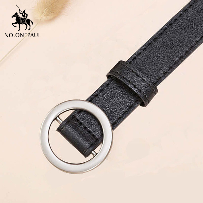 NO.ONEPAUL Women's Soft Belt Latest Round Neck Buckle Casual Leather Belt Alloy Pin Buckle Cute Retro Ladies Show Waist Narrow