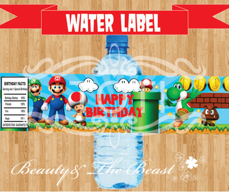 Customized Personalized Super Mario Bottle Water Labels Stick Party  Wrappers Baby Shower Birthday Party Decoration Kids