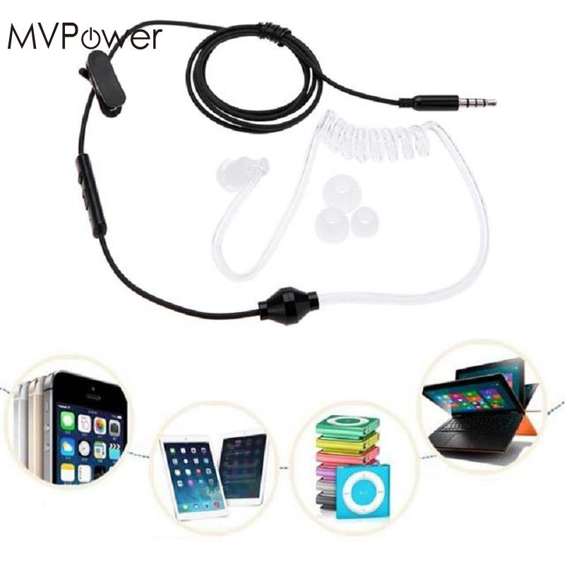 MVPower 3.5mm Wired Anti-Radiation Earphones Air Tube Headset Earbud Spiral Earphone w/ MIC universal sltcrpasion soft 3 5mm air tube in ear monaural elastic flexible phone earphone anti radiation spy earpiece with mic