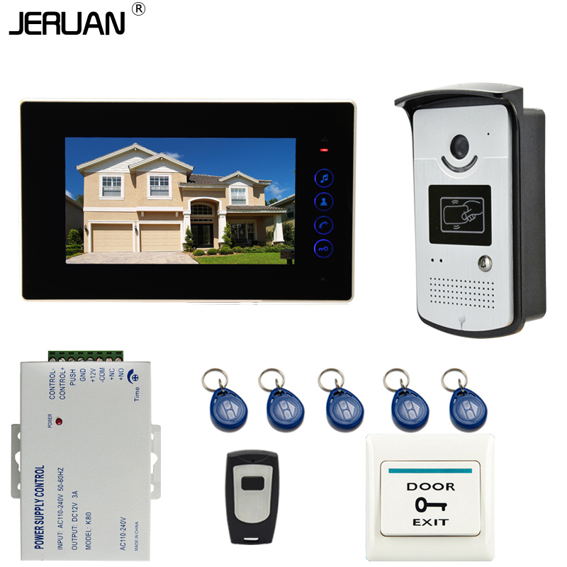 JERUAN New 7 inch touch key Color Screen Video DoorPhone Intercom System 1 Monitor +700TVL RFID Access Camera For 1 house brand new 7 inch color screen video doorphone sperakerphone intercom system 1 monitor 700tvl coms camera free shipping