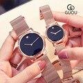 Женские и мужские Часы GUOU  модные повседневные часы с металлическим вязаным ремешком  кварцевые наручные часы для деловых людей