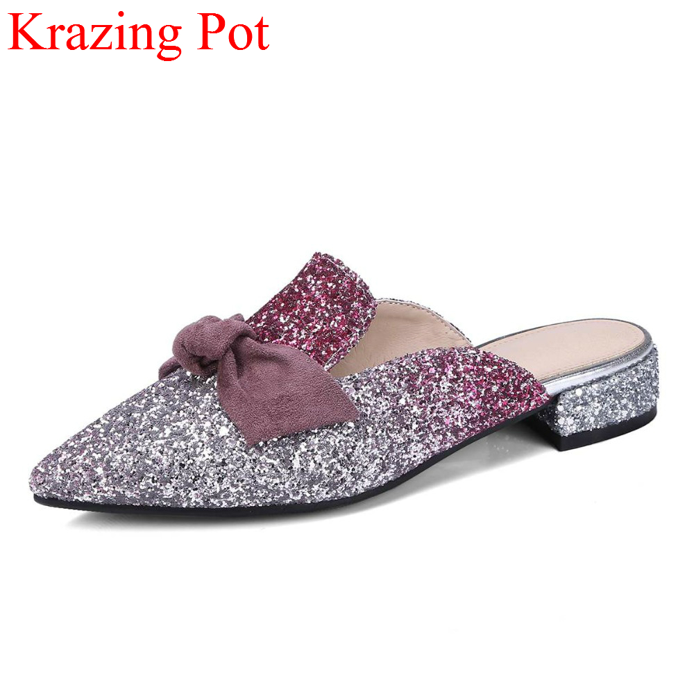 2018 Fashion Pointed Toe Slingback Elegant Women Summer Shoes Slip on Fashion Bowtie Low Heels Bling Sweet Mules Women Pumps L62 elegant women s pumps with suede and slingback design