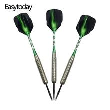 Easytoday 3Pcs/set Professional Darts Steel Tip Set Standard Hard Type Aluminum Green Shafts Dart Flights Throwing Games