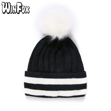 Winfox New Fashion Winter Black White Striped Warm Knitted Hats With Fur Pompom For Women Ladies