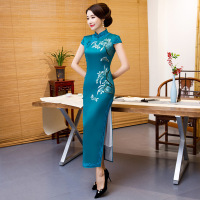 Sheng Coco Plus Size Royal Blue China Silk Qipao Satin Cheongsam Dresses Long Lace Bordered Collar Qipao 4XL Embroidered Flowers