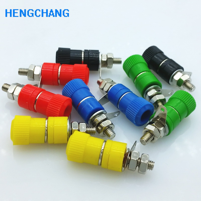 10pcs/lot 5 Colour Terminal Binding Post With 4mm Banana Socket For Amplifier Instrument Power Supply Panel Mount Connector