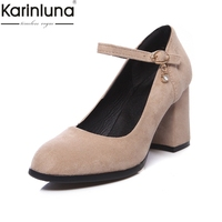 KarinLuna 2019 Brand New Flock Mature Office Lady women' S Pumps Chunky Heels Elegant Fashion women's Shoes
