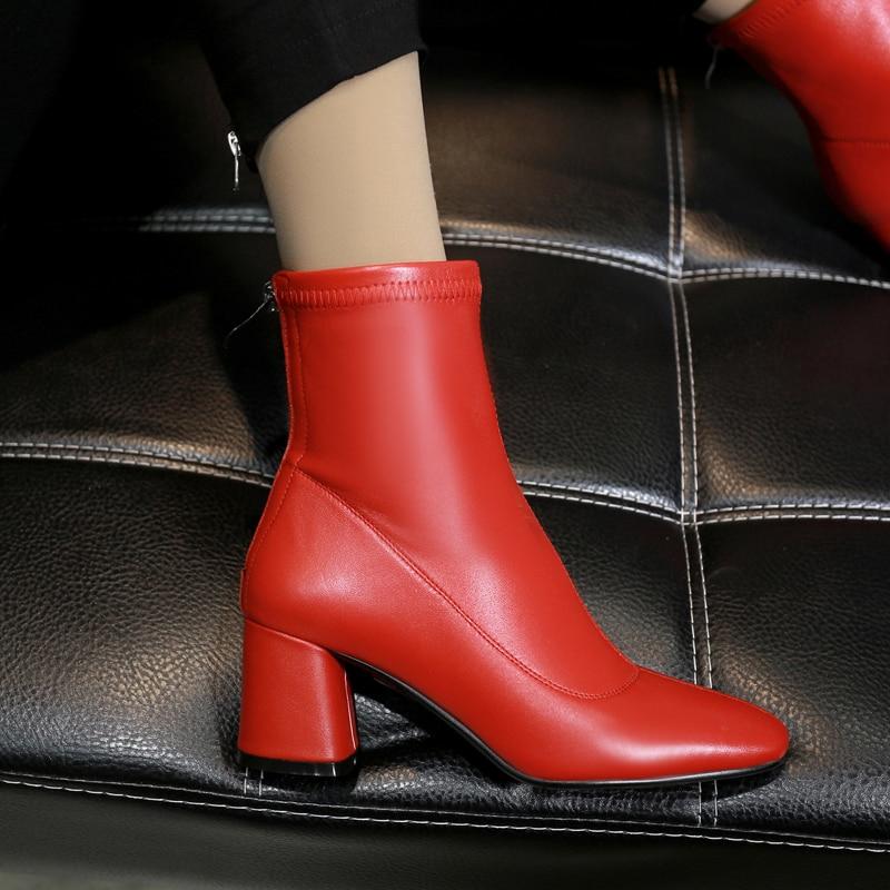 Véritable Black De Cuir Designer Cheville Bout Marque red Femmes Court on Slip Dames Chaussons Bottes Talon Med Élégant Automne Carré Chaussures FSxEEgwq