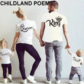 2017 New summer Family Matching Outfits T-shirt Cotton king matching family clothes T-shirt Family Look Family matching clothes