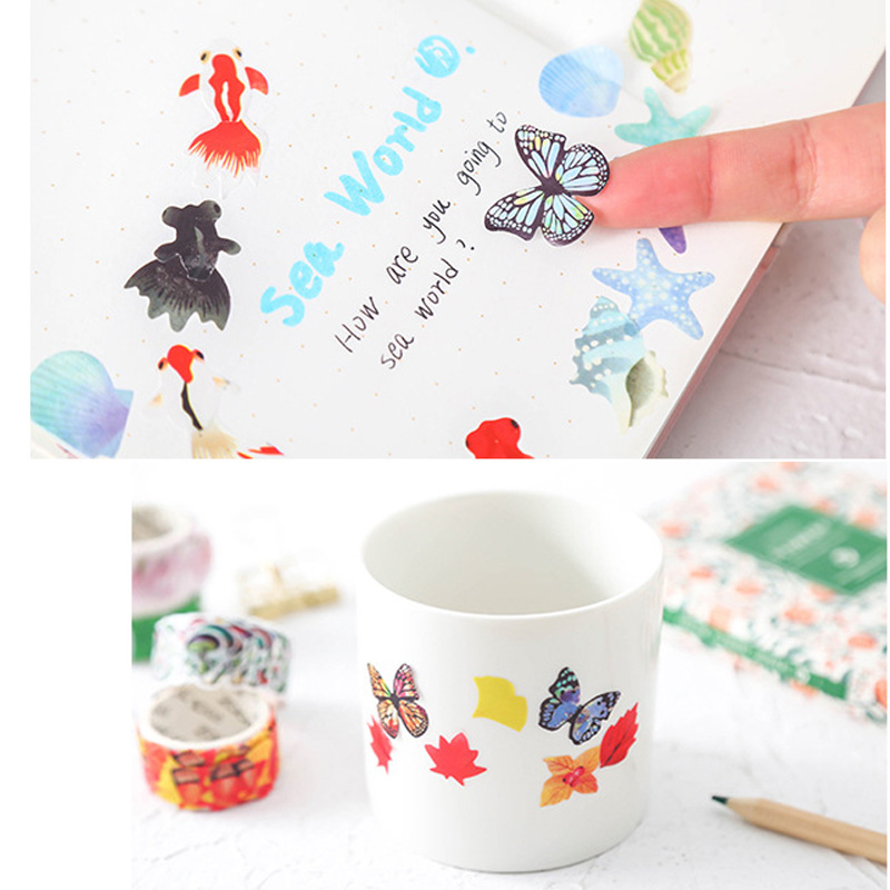 200 pcs Roll Cute Flower Petals Decoration Washi Tape Paper Stickers Japanese Cherry Blossom Sticker for Diary DIY Scrapbooking in Office Adhesive Tape from Office School Supplies