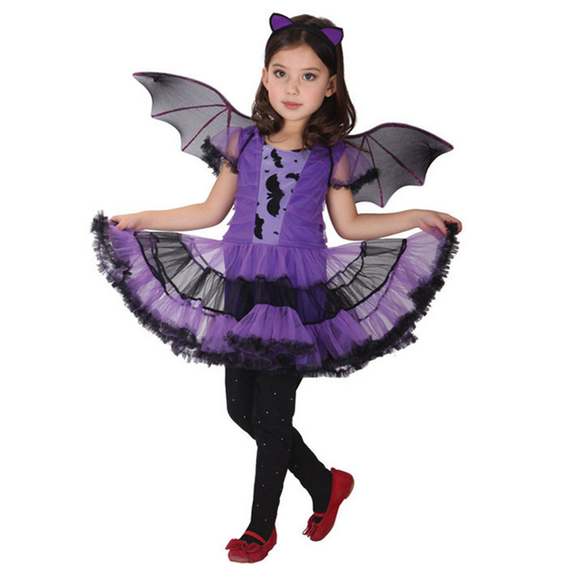 2017 New high quality Purple Bat dress Halloween Chrismas Costume Dance Costumes for Kids Fancy Party Costume for Girl Children
