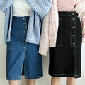new arrived autumn spring Skirts woman Retro split Single breasted Fashion Casual denim Knee-Length High waist  lower garment