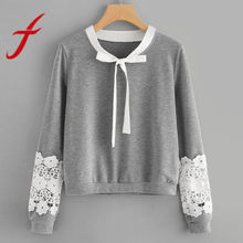 Feitong Autumn Women Sweatshirts Causal Lace Hollow Tops Long Sleeve Round Neck Tie Sweatshirt Pullover sudaderas mujer 2018 New(China)