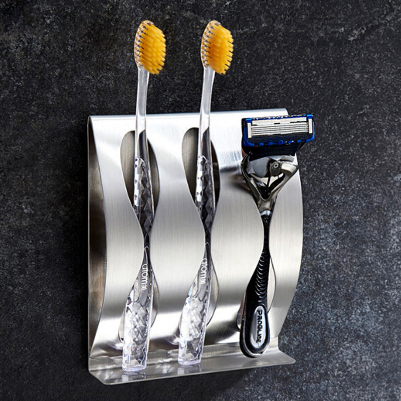 New Bathroom Stainless Steel Self-adhesive Tooth Brush Organizer Stand Holders Toothbrush Rack Wall Mount Toothbrushes Holder