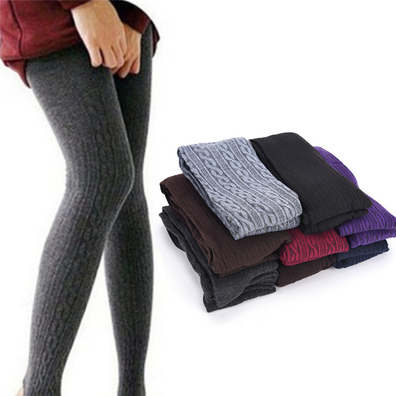 Womens Thick Striped Tights Knit Winter Warm Cotton Stockings Fashion Pantyhose Pantyhose Socks