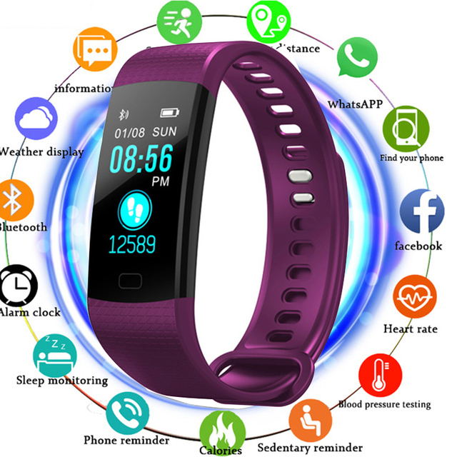 TOLASI Women Men Smart Wrist Band Bluetooth Heart Rate Blood Pressure Pedometer