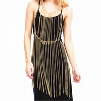 Exagerada corrente de metal longa borla cadeia harness colar mulheres sexy ouro/prata cintura saia decoração cadeia de jóias 2016