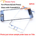 Wholesale 30PCS For iPhone 6 4.7 inch Cold Press LCD Front Touch Screen Glass Outer Lens with frame OCA film  Replacement