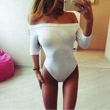 Women Sexy Jumpsuit Slash Neck Off Shoulder Rompers Half Sleeve Bodysuit Casual Sexy Slim Play Suit Bodysuit