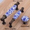 96mm branco e azul porcelana cômoda armário de cozinha porta gaveta knob pull handle antique bronze Moda vintage alça de cerâmica