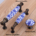96mm white and blue porcelain dresser kitchen cabinet door handle antique bronze drawer knob pull Fashion vintage ceramic handle
