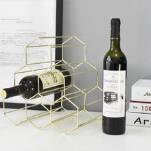 Simple Nordic Wrought Iron Honeycomb Red Wine Rack Decoration Home Living Room Bar Wine Cabinet Shop Display Decoration Storage bass wine rack ou shi wrought iron wine frame the side table