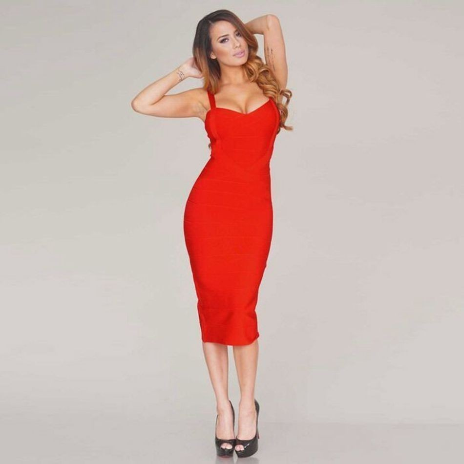 Spaghetti Straps Criss Cross Mid Calf Bodycon Bandage Dress 1