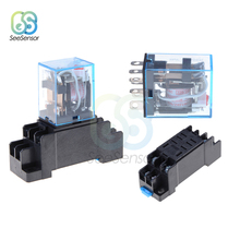 цена на PTF08A LY2NJ HH62P Relay DC 12V AC 220V 10A 8PIN Coil DPDT Power Relay Socket Base Holder