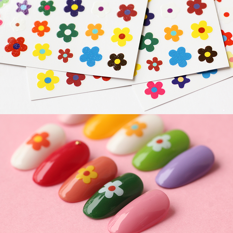 1pcs 3D Nail Art Adhesive <font><b>Stickers</b></font> Applique <font><b>Kim</b></font> Hyun A Instagram Hot Five Petals Flowers Small Leaves Ultra-thin Nail Tools image