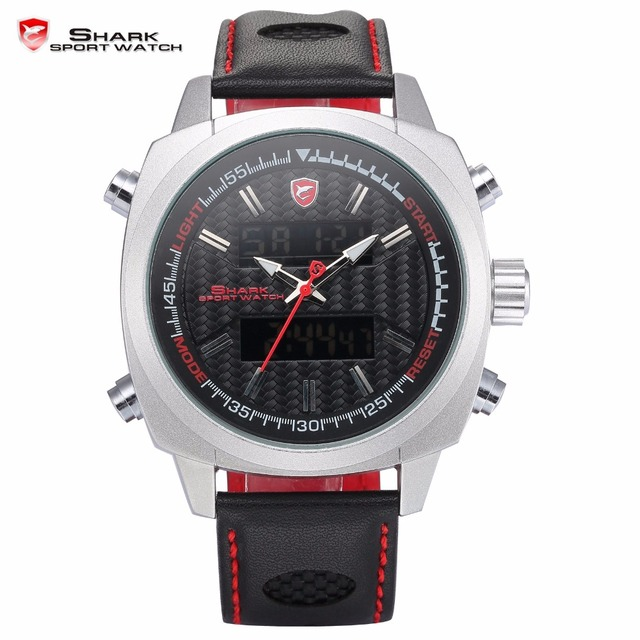 Silvertip Shark Sport Watch Men Black Red Digital 3D Analog Calendar Alarm watch Quartz Leather Band Timepiece Gift / SH492