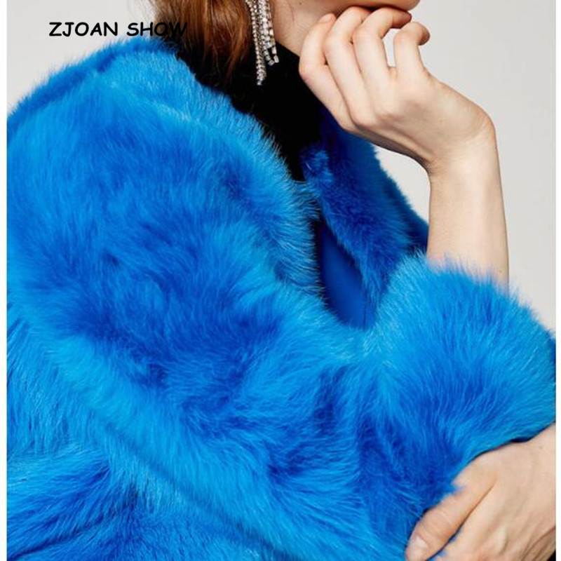 2018 Neue Frauen Winter Blau V-ausschnitt Hairy Shaggy Faux Fuchs Pelz Jacken Vintage Lange Hülse Pelzigen Faux Pelzmantel Lose Oberbekleidung