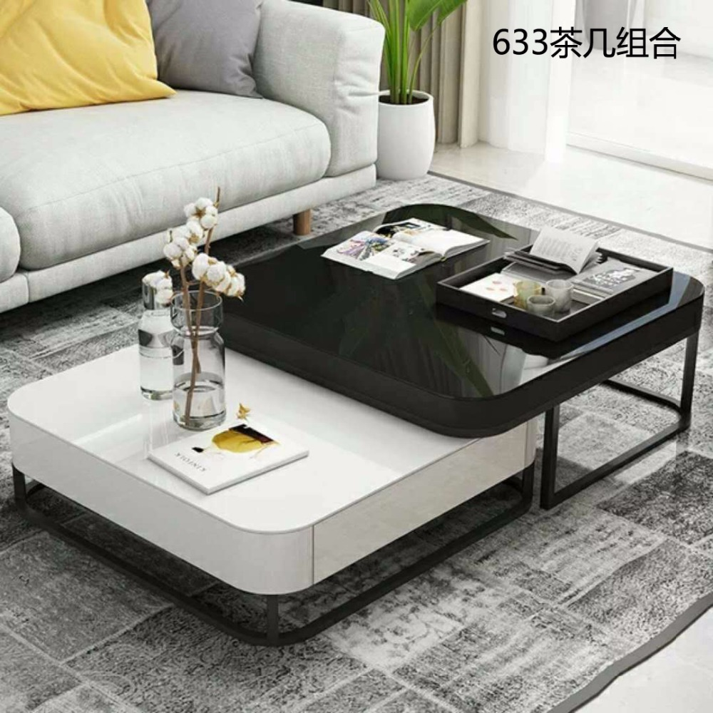 0608CJ633 Tempered glass surface stainless steel frame combination tea table coffee table Light paint solid wood drawer