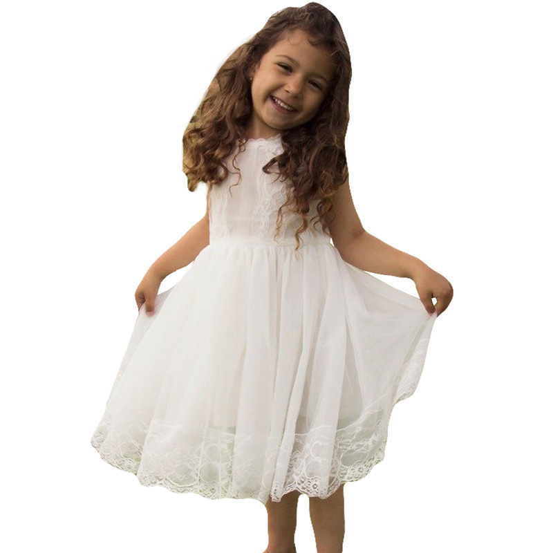 Girls Dress 2018 New Summer Mesh Girls Clothes Solid Applique Princess Dress Children Summer Clothes Baby Girls Dress L280