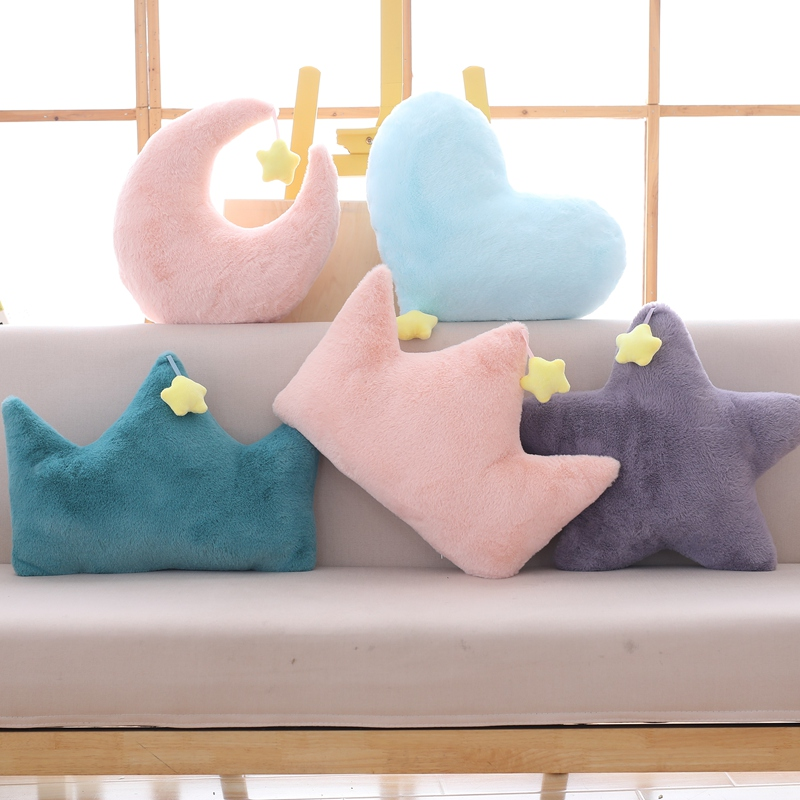 Soft Room Plush Pillow Cushion Star Cloud Heart Crown Stuffed Star Shaped Plush Toy Baby Kids Gift Pillow Sofa Bed Decoration