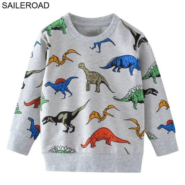 SAILEROAD קריקטורה דינוזאור בני חולצות לילדים קטנים נים בגדי 2-7Years סתיו ילדים ארוך שרוול חולצות כותנה
