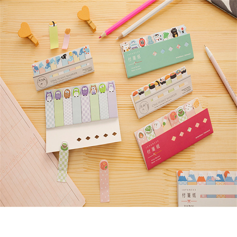 1pcs/Lot Kawaii Owl Kittens Sumo Animals Japanese Notepad Scrapbooking Stickers Sticky Notes School Office Supplies Memo Pad