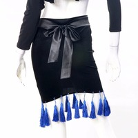 Good Sale Latin Dance Skirts For Ladies Black Color Velvet Skirts Woman Professional Square Adult Chacha