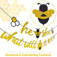 METABLE He or She What Will It Bee Banner Gender Reveal Garland with and Beehive Baby Shower Glitter Party Favor Supplies