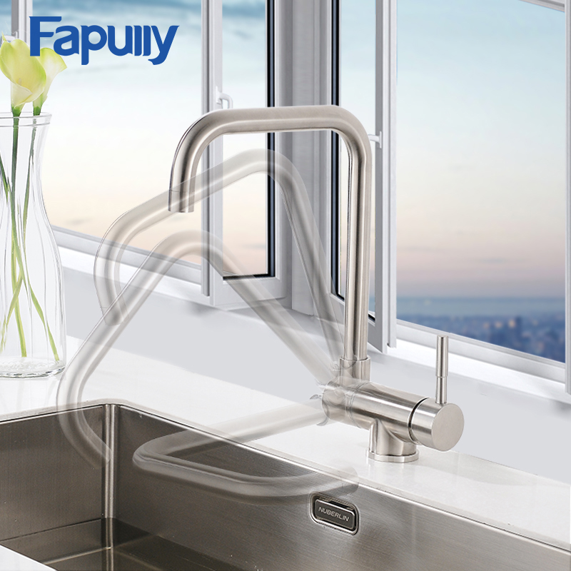 Fapully Brass Kitchen Faucet Foldable Single Handle Crane 360 Degree Rotate Mixer Sink Tap Mixer Hot Cold Water Torneira 500-33N