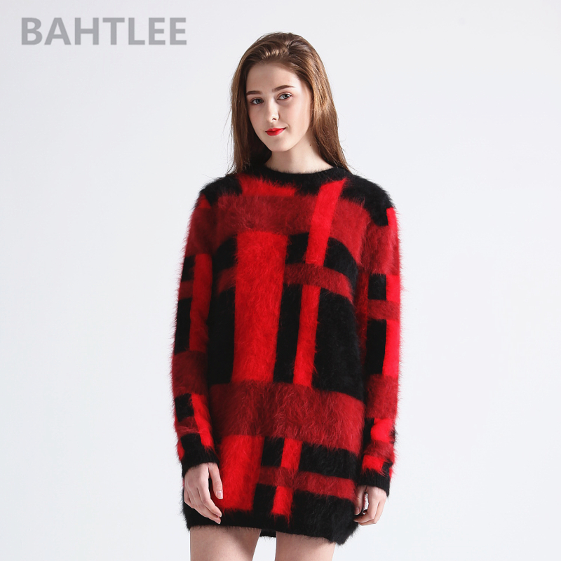 BAHTLEE Autumn winter long wool sweater women s angora rabbit knitted pullovers sweater long sleeve o