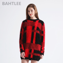 BAHTLEE Herbst winter lange wolle pullover frauen angora kaninchen gestrickte pullover pullover lange hülse o-ansatz warm halten