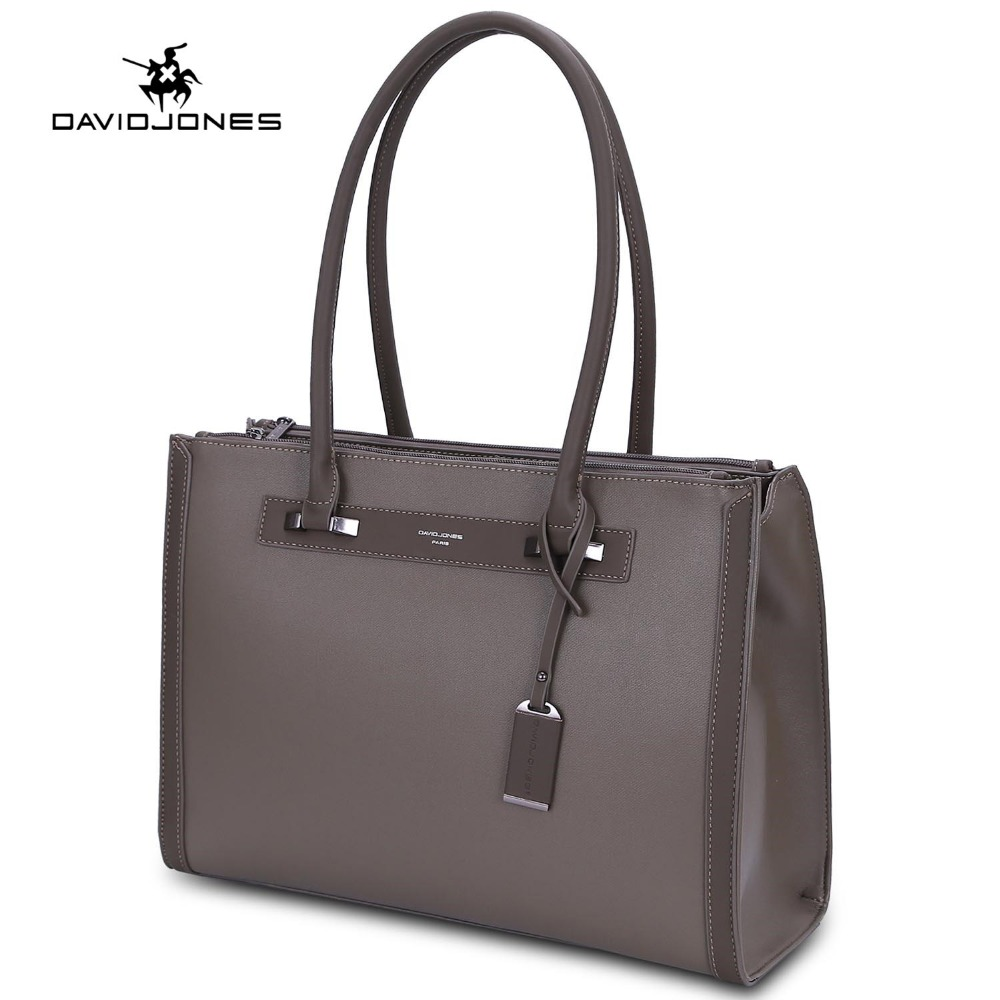 купить DAVIDJONES women handbag faux leather female tote bags big lady solid shoulder bag girl brand top handle bag drop shipping по цене 2950.41 рублей