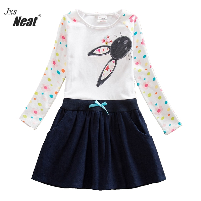 Neat Brand wholesale Baby girl clothes Lovely dresses kids clothes girl party dress long sleeve 100% cotton girl clothes H5922