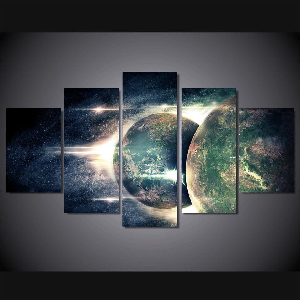 5 panels wall art digital art outer space planets stars. Black Bedroom Furniture Sets. Home Design Ideas