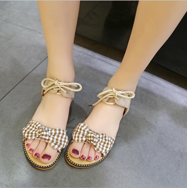 XDA Fashion Sandals Women Flats 2019 Summer bow-knot sandals Ladies lace-up Beach Sandals Cute student casual women shoes E113 3