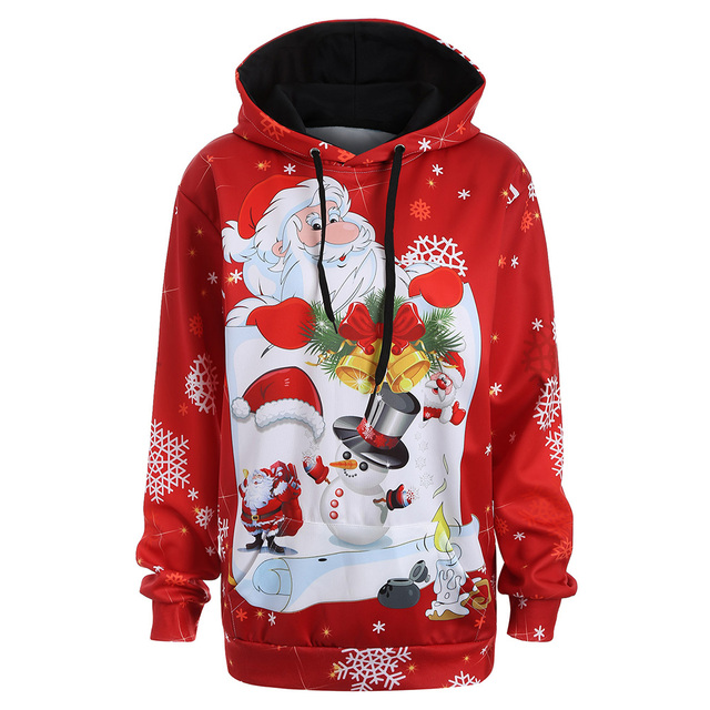 kenancy women christmas hoodies tops plus size 3xl snowman kangaroo pocket santa claus patterned hoodie sweatshirts